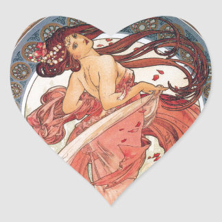 "Alphonse Mucha, ""Dance"" Heart Sticker"