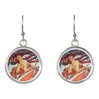 Alphonse Mucha Dance Vintage Art Nouveau Painting Earrings