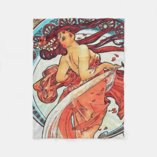 Alphonse Mucha Dance Vintage Art Nouveau Painting Fleece Blanket