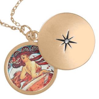 Alphonse Mucha Dance Vintage Art Nouveau Painting Locket Necklace