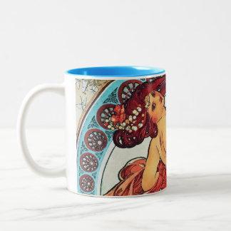 Alphonse Mucha Dance Vintage Art Nouveau Painting Two-Tone Coffee Mug