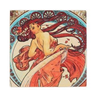 Alphonse Mucha Dance Vintage Art Nouveau Painting Wood Coaster