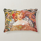 Alphonse Mucha Daydream Floral Vintage Art Nouveau Decorative Cushion