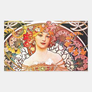 Alphonse Mucha Daydream Floral Vintage Art Nouveau Rectangular Sticker