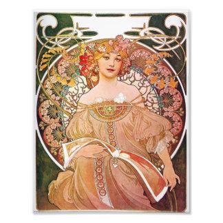 Alphonse Mucha Daydream Reverie Art Nouveau Lady Art Photo