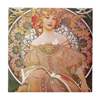 Alphonse Mucha Daydream Reverie Art Nouveau Lady Small Square Tile
