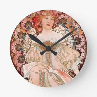 Alphonse Mucha: Daydream (Rêverie) Round Clock