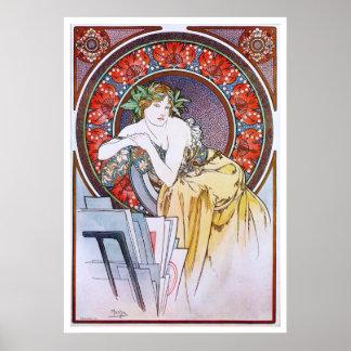 Alphonse Mucha. Femme Au Carton A Dessins Poster