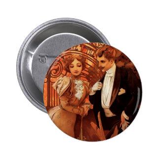 Alphonse Mucha Flirt Button