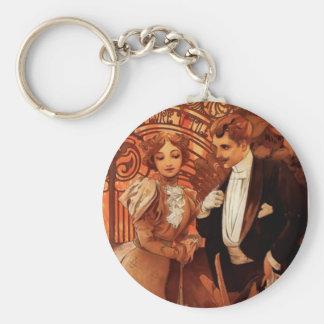 Alphonse Mucha Flirt Key Chain