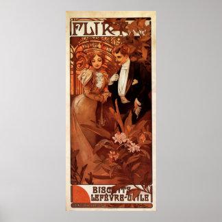 Alphonse Mucha Flirt Poster