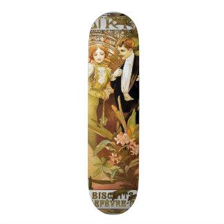 Alphonse Mucha Flirt Vintage Romantic Art Nouveau 21.6 Cm Old School Skateboard Deck