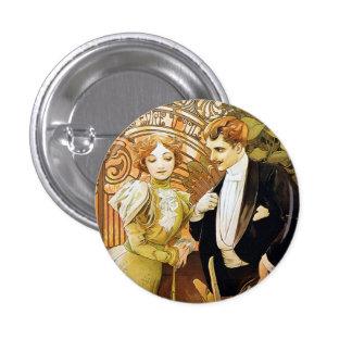 Alphonse Mucha Flirt Vintage Romantic Art Nouveau Pinback Button