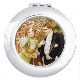 Alphonse Mucha Flirt Vintage Romantic Art Nouveau Compact Mirrors
