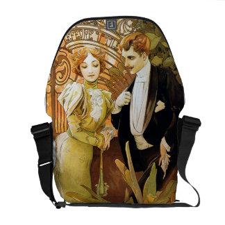 Alphonse Mucha Flirt Vintage Romantic Art Nouveau Courier Bag
