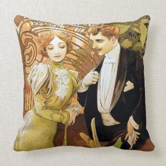 Alphonse Mucha Flirt Vintage Romantic Art Nouveau Cushion