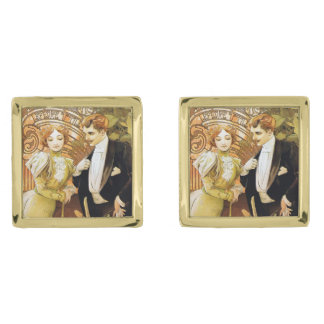 Alphonse Mucha Flirt Vintage Romantic Art Nouveau Gold Finish Cufflinks