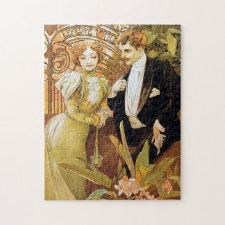 Alphonse Mucha Flirt Vintage Romantic Art Nouveau Jigsaw Puzzle