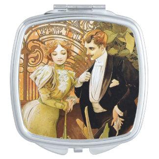 Alphonse Mucha Flirt Vintage Romantic Art Nouveau Mirror For Makeup