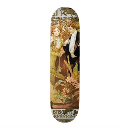 Alphonse Mucha Flirt Vintage Romantic Art Nouveau Custom Skate Board