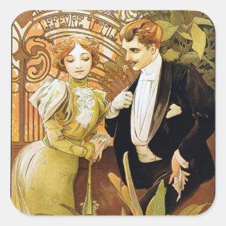 Alphonse Mucha Flirt Vintage Romantic Art Nouveau Square Sticker