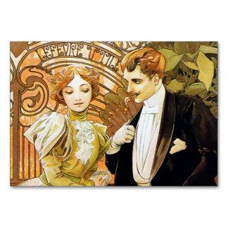 Alphonse Mucha Flirt Vintage Romantic Art Nouveau Table Card