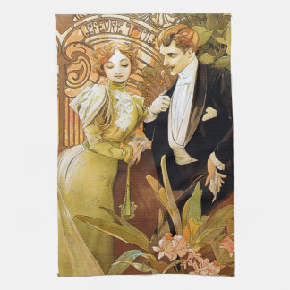 Alphonse Mucha Flirt Vintage Romantic Art Nouveau Tea Towel