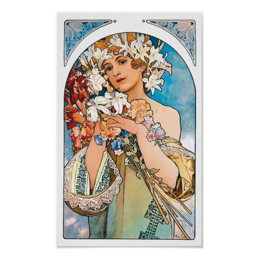 Alphonse Mucha Flowers Gifts - T-Shirts, Art, Posters & Other Gift