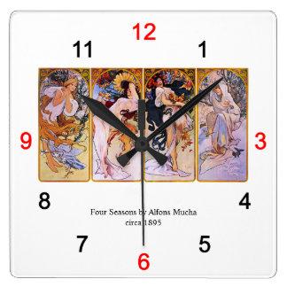 "Alphonse Mucha, ""Four Seasons"" Clocks"