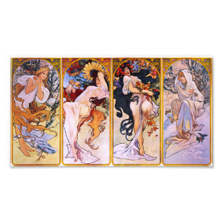 Alphonse Mucha Four Seasons Prin Photo Print