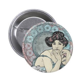Alphonse Mucha Goddess Pinback Button