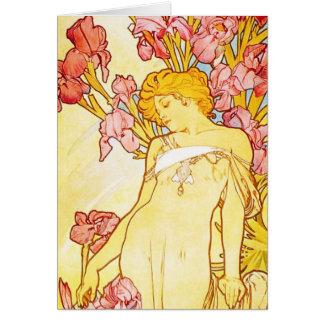 Alphonse Mucha Iris Note Card