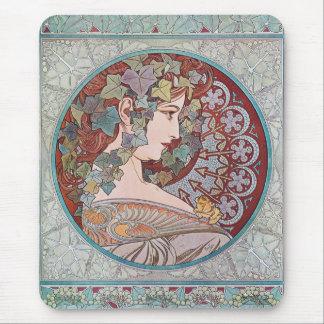 Alphonse Mucha Ivy Art Nouveau Mousepad Mouse Pad