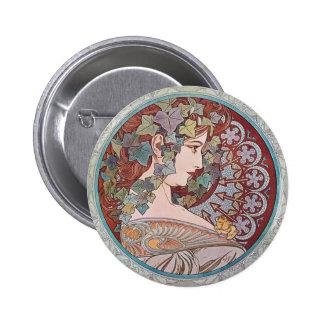 Alphonse Mucha Ivy Art Nouveau Round Button Pin