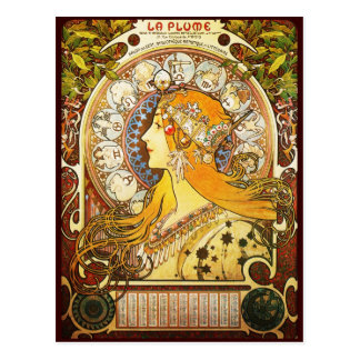 Alphonse Mucha La Plume Post Card