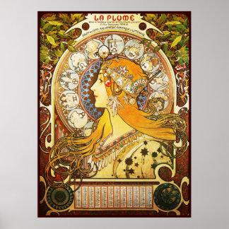 Alphonse Mucha La Plume Poster