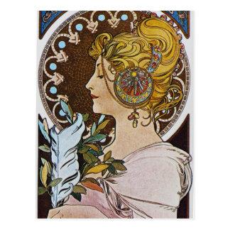 Alphonse Mucha. La Plume/The Pen, 1899 Postcard