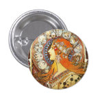 Alphonse Mucha La Plume Zodiac Art Nouveau Vintage 3 Cm Round Badge