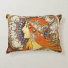 Alphonse Mucha La Plume Zodiac Art Nouveau Vintage Decorative Cushion