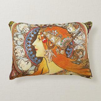 Alphonse Mucha La Plume Zodiac Art Nouveau Vintage Decorative Cushion