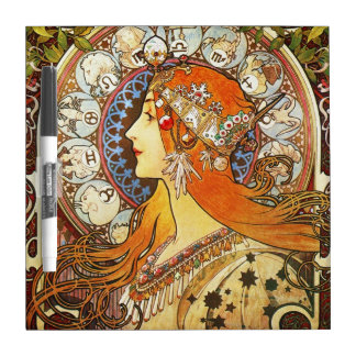 Alphonse Mucha La Plume Zodiac Art Nouveau Vintage Dry Erase Board