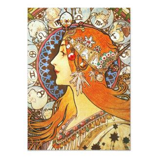 Alphonse Mucha La Plume Zodiac Art Nouveau Vintage Invite