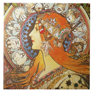 Alphonse Mucha La Plume Zodiac Art Nouveau Vintage Large Square Tile