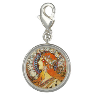 Alphonse Mucha La Plume Zodiac Art Nouveau Vintage Charm Bracelets