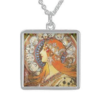 Alphonse Mucha La Plume Zodiac Art Nouveau Vintage Sterling Silver Necklace