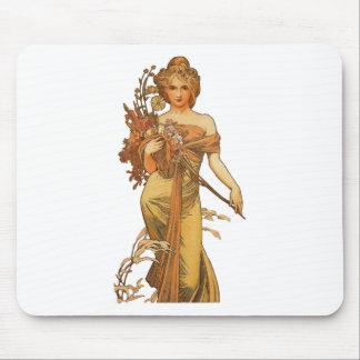Alphonse Mucha - Lady Holding Flowers Mouse Pad