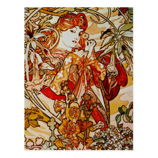 Alphonse Mucha - Lady with a Daisy Postcard