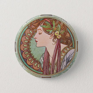 Alphonse Mucha Laurel Art Nouveau Button Pin