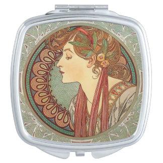 Alphonse Mucha Laurel art nouveau compact Mirror For Makeup