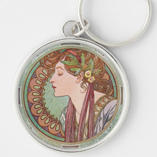Alphonse Mucha Laurel Art Nouveau Key Chain